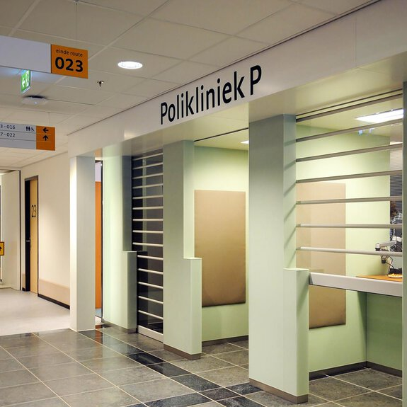 Interior view of the reception at the Maartenklinik