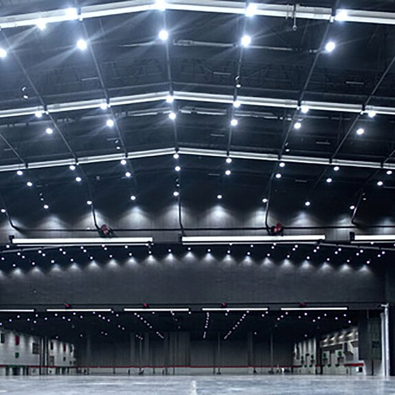 Interior of a warehouse with LED hall spotlight